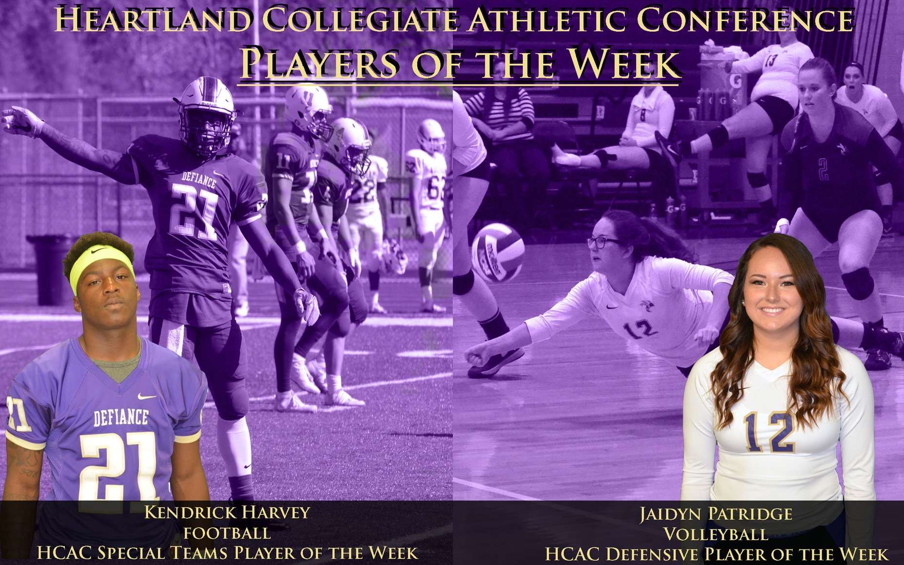 Harvey and Patridge Named HCAC Players of the Week