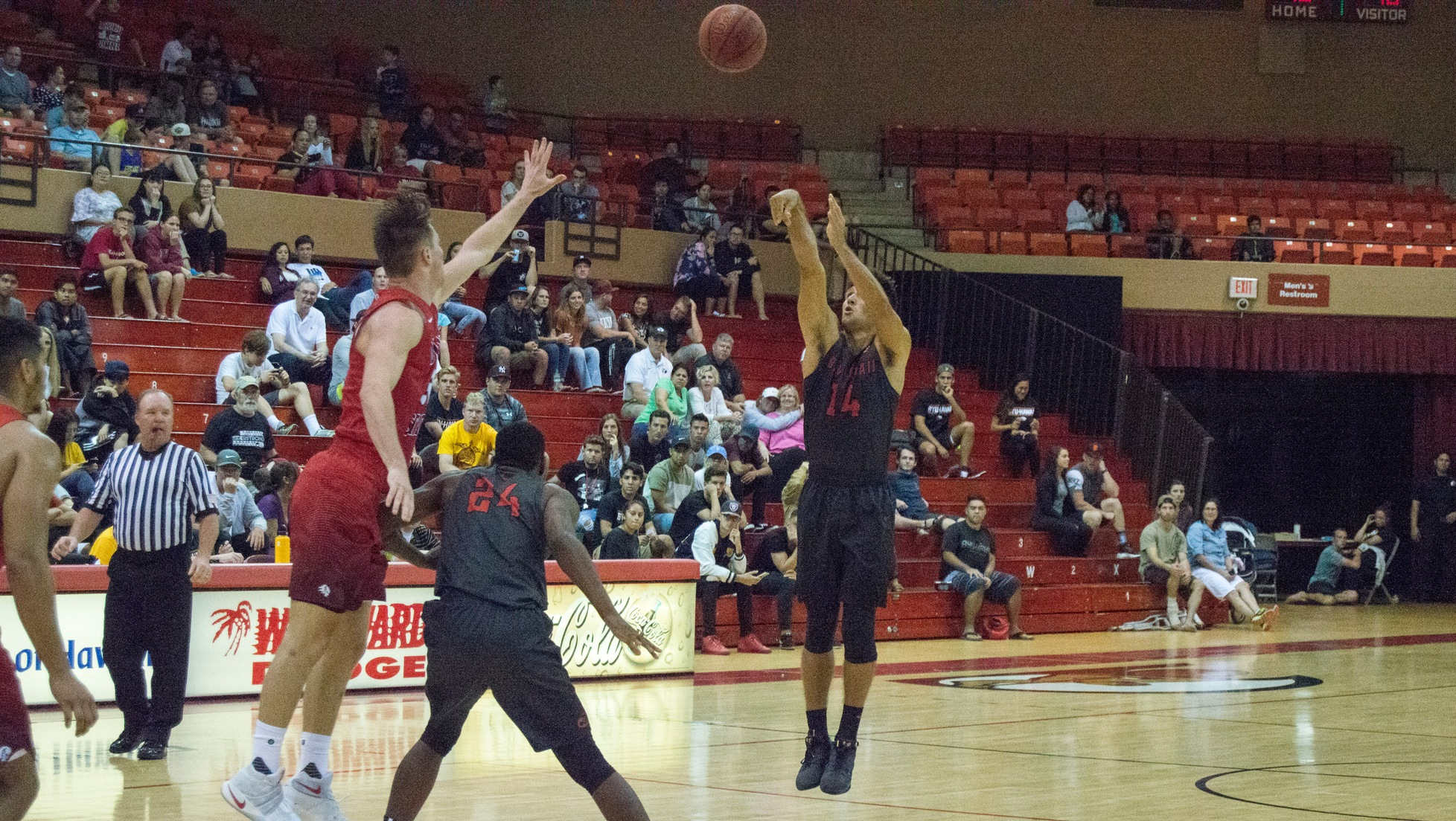 Gabe Andrade hits a 3-pointer against Dixie State.
