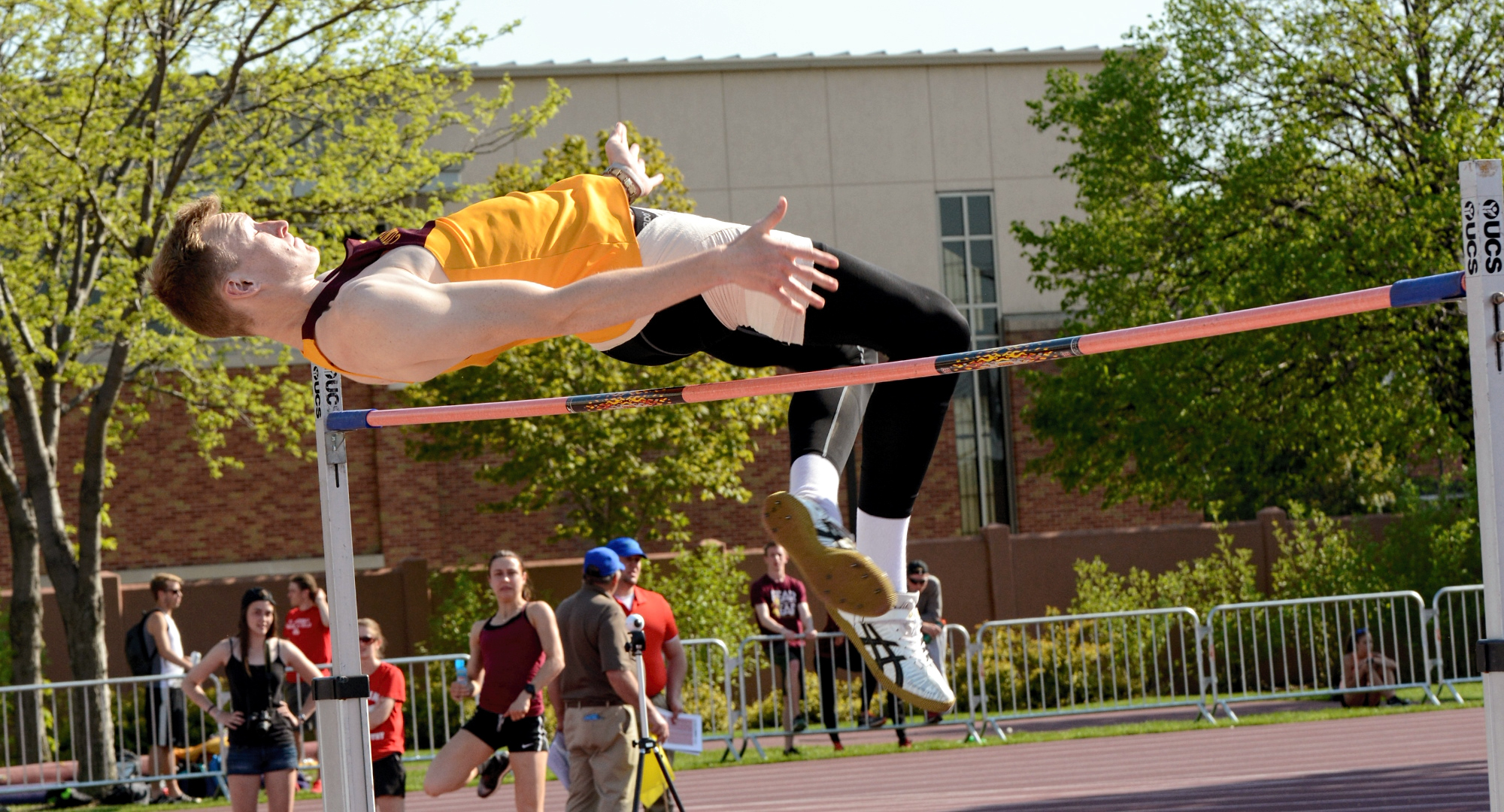 Jackson Schepp clears the bar on his way to winning the high jump on Day 1 at the MIAC Championship Meet. (Photo courtesy of Hamline Sports Info Dept.)