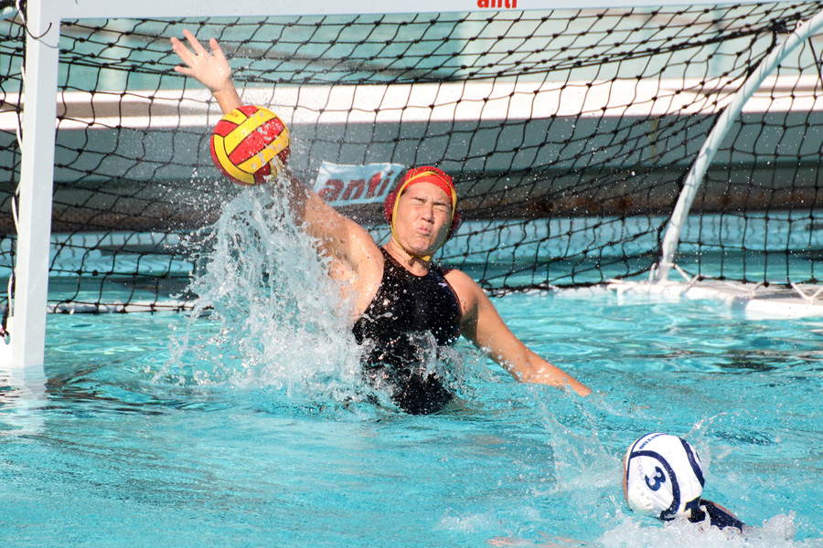 Natalie Wassall makes the save on a Cerritos shot during PCC's home defeat on Wednesday afternoon, photo by Richard Quinton.