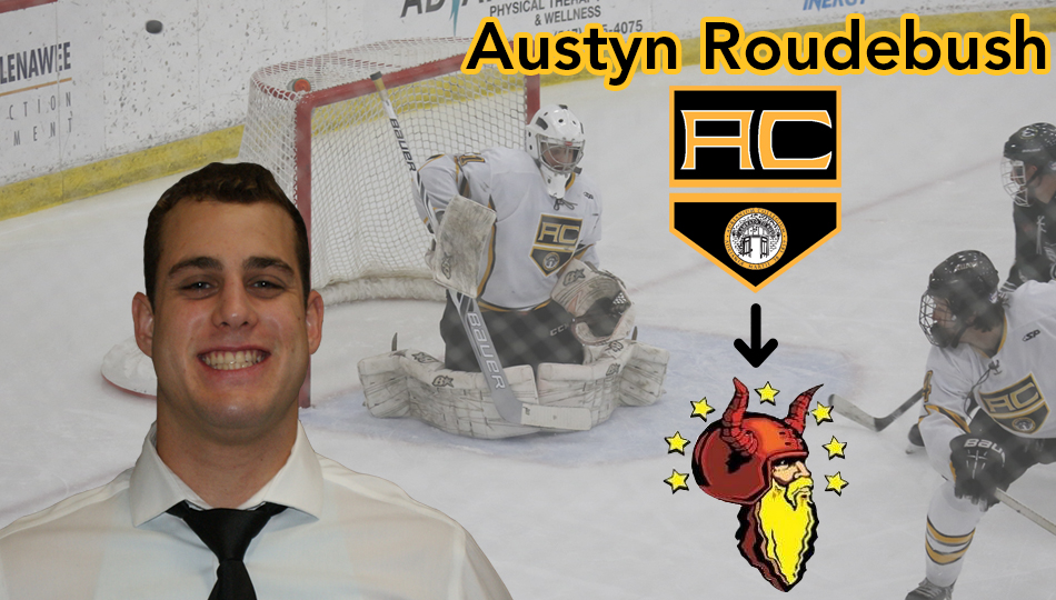 2018 ACHA Division I Player of the Year Austyn Roudebush helped the Bulldogs win their first national championship last March. (Graphic by Joseph Templin)