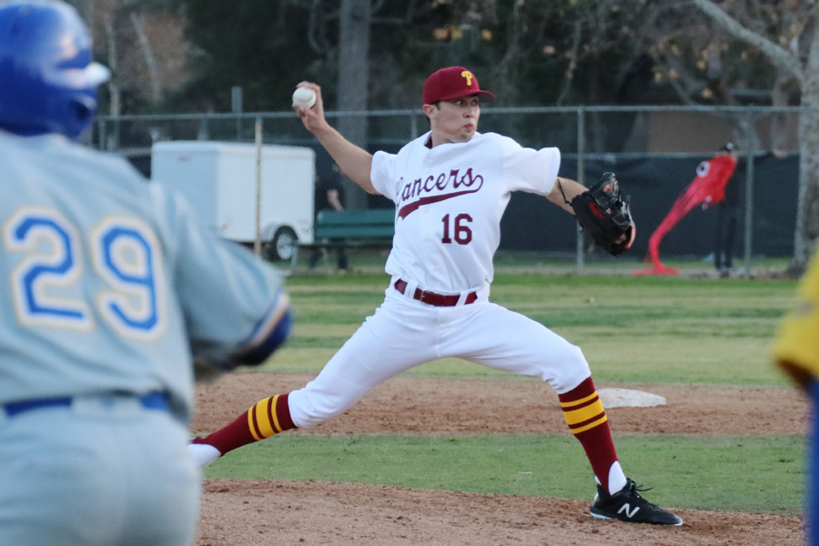 Nathan Garkow struck out 10 batters as PCC beat Santa Barbara on Wednesday, photo by Richard Quinton.