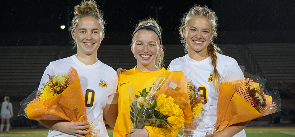 (Left to Right) Seniors Kenna Poptic, Emma Bruno, and Courtney Cofer