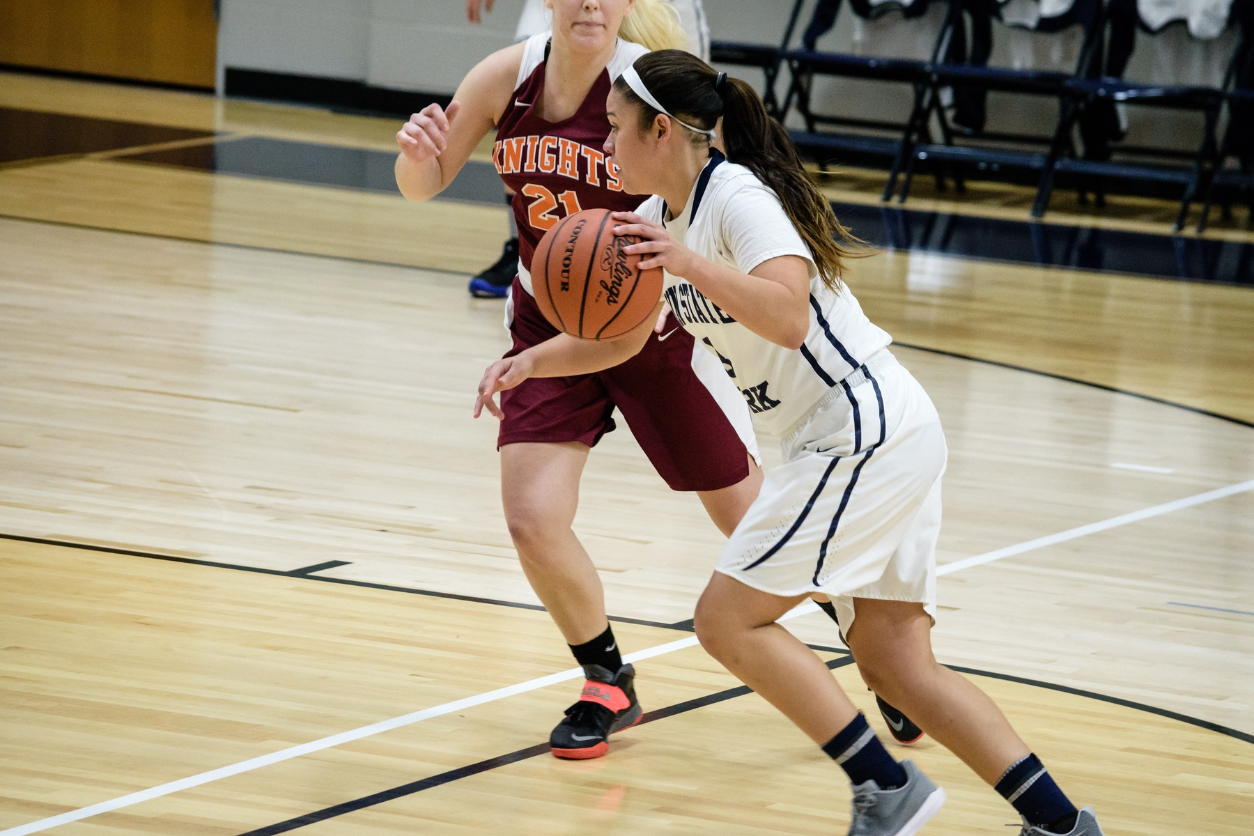 Senior Emily Colon drives to the basket during a game earlier this season.