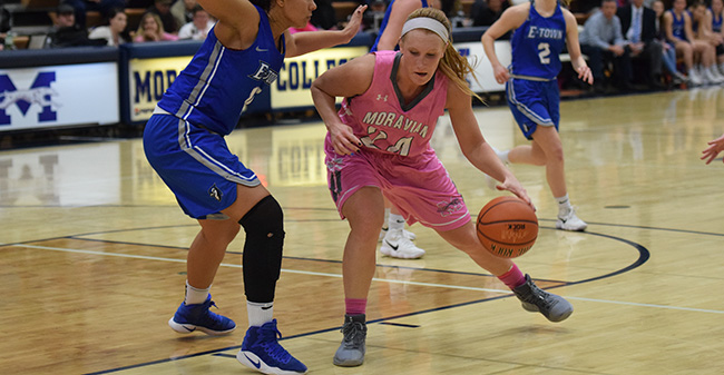 Trista Cunningham '18 makes a move to the basket versus Elizabethtown College.