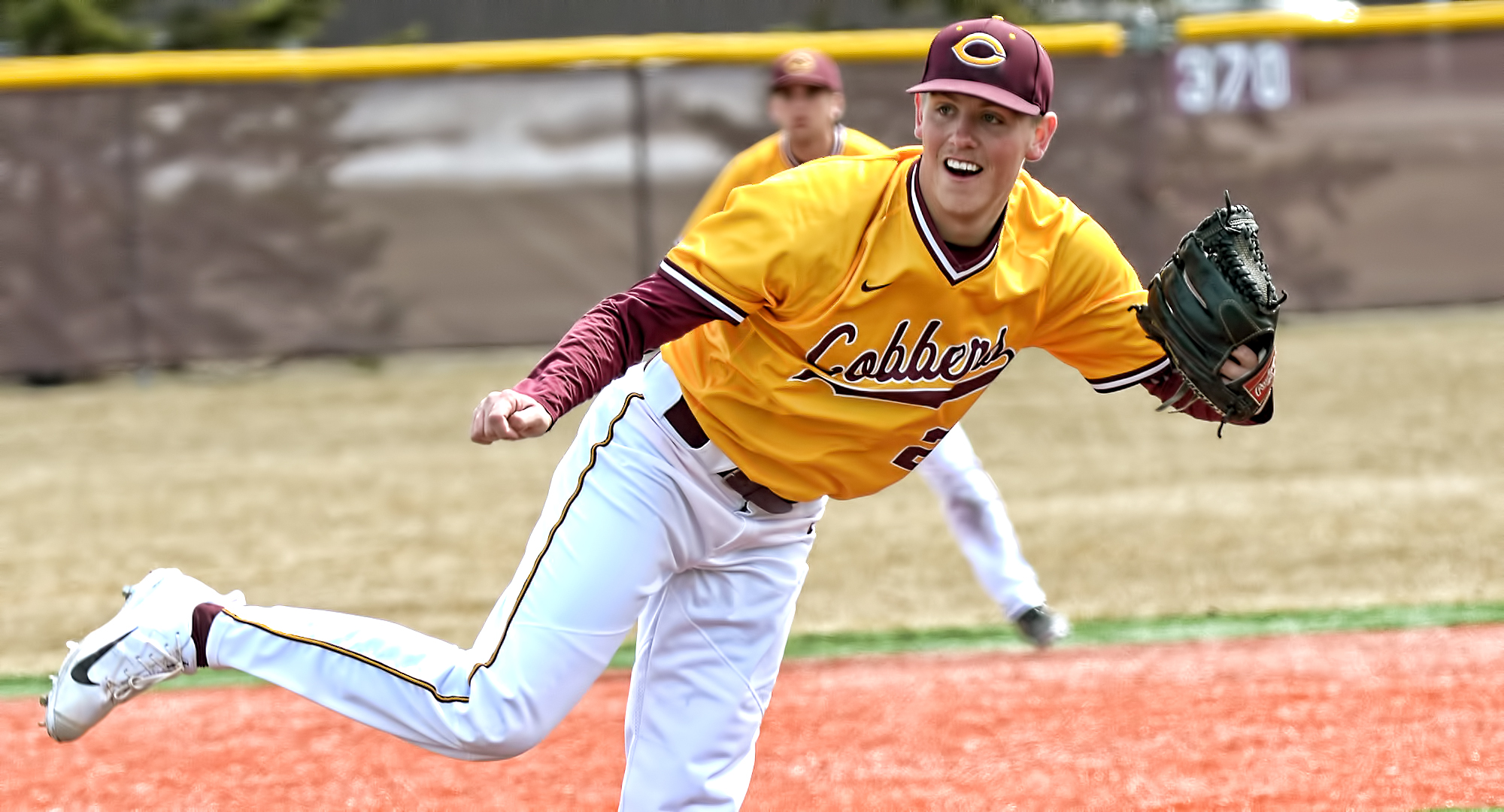 Super senior Cole Christensen recorded a career-high 12 strikeouts and pitched 8.0 scoreless innings to help the Cobbers gain a split with Augsburg in the MIAC opener.