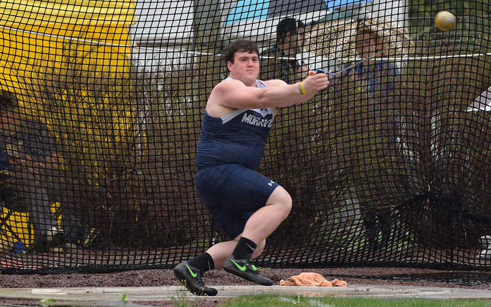 Junior Ryan Harper competes in the hammer throw during the Coach P Invitational at Timothy Breidegam Track.