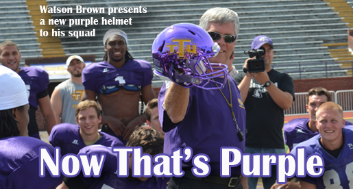 CAMP NOTEBOOK: Team gets first look at new metallic purple helmet
