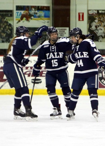 Yale celebrates a goal by Taylor Marchin. (photo by Sam Rubin '95, Yale Sports Publicity)