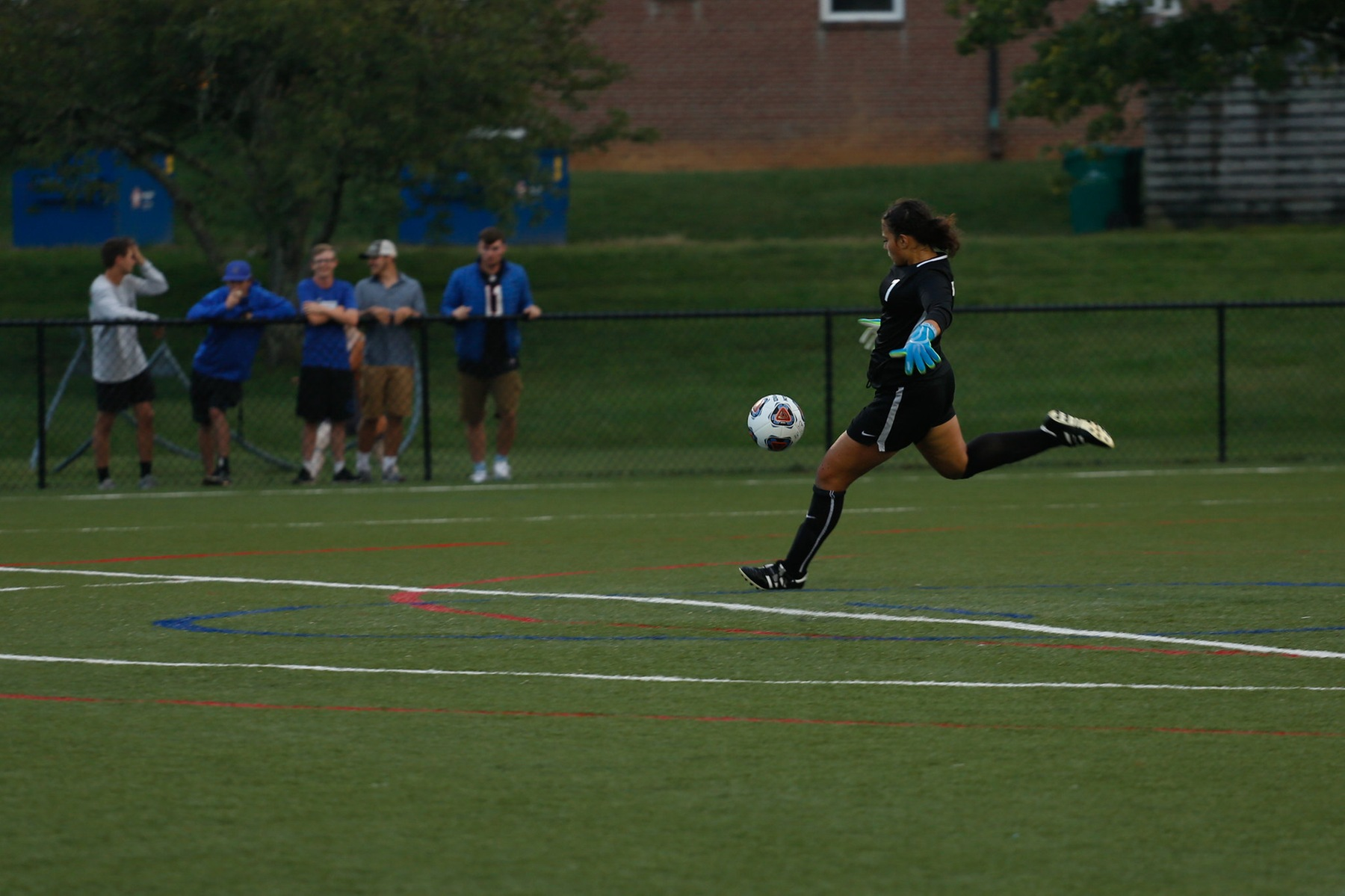 Junior goalkeeper Rebeccah Rojas kickstarts the Tornado offense with a deep ball (Courtesy of Victoria Brayman '22)