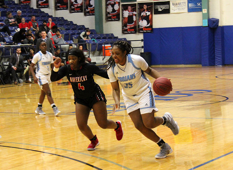 Michaela Bethel drives to the basket for two of her 13 points in CCC's win over Northwest Kansas Technical College, 68-55, on Jan. 16 in Colby.