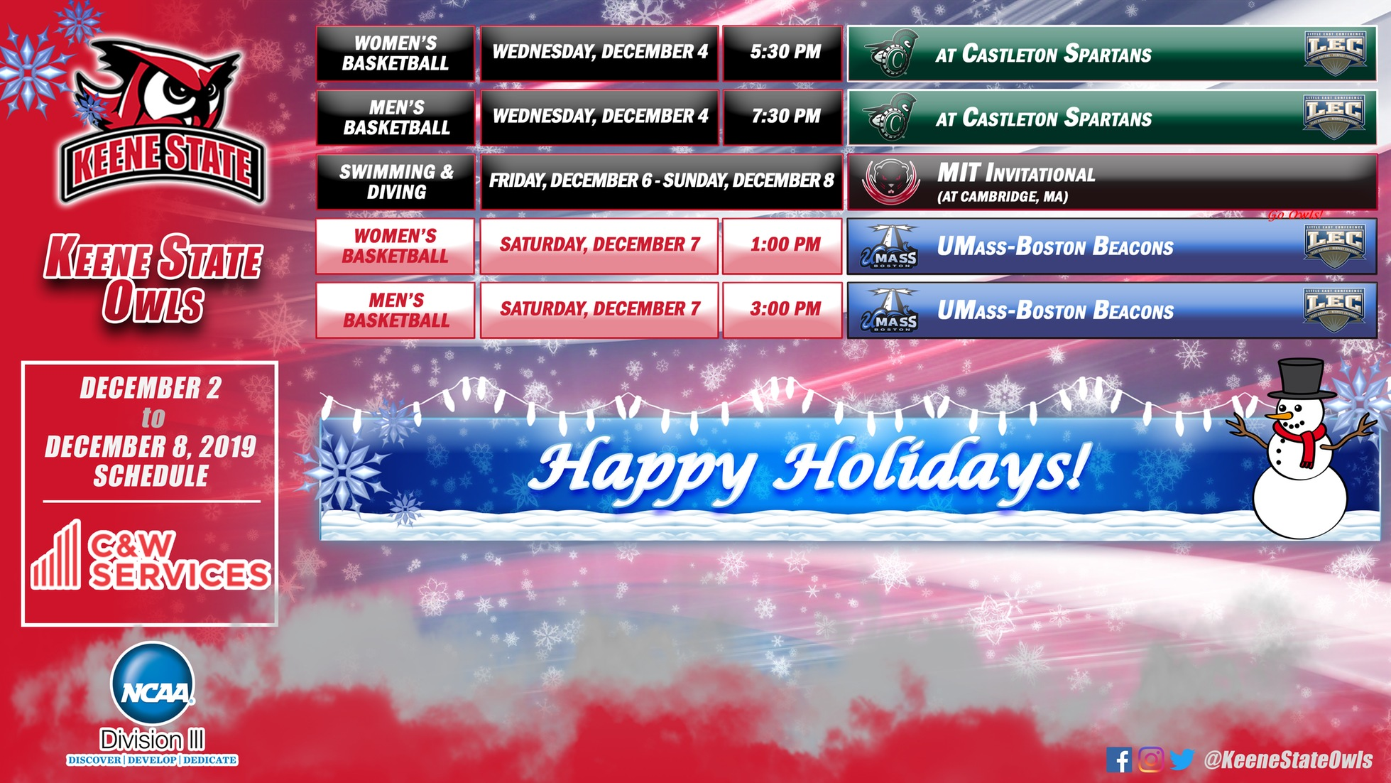Keene State Athletics Upcoming Schedule presented by C&W Services: December 2-8