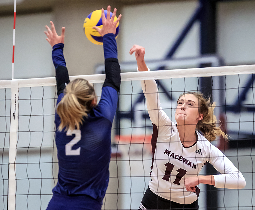 McKenna Stevenson, seen in action against Mount Royal in the preseason, and the rest of the Griffins pushed Thompson Rivers to five sets but lost their season opener on Friday night (Robert Antoniuk photo).