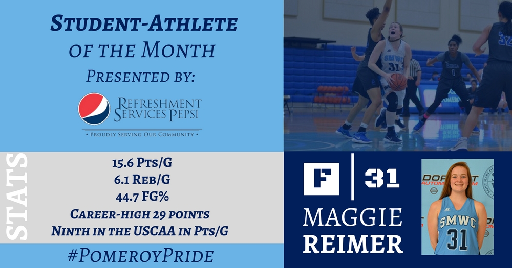 Reimer Named Student-Athlete of the Month Presented By Refreshment Services Pepsi