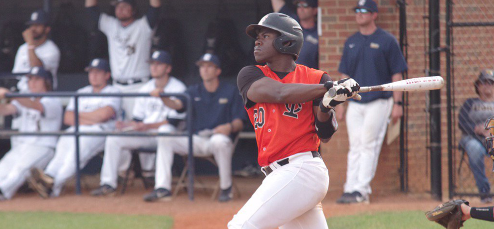 Jarel McDade went 3-for-4 with 4 runs, 5 RBI and this grand slam in the 6th inning at Coker (photo by Chris Lenker)