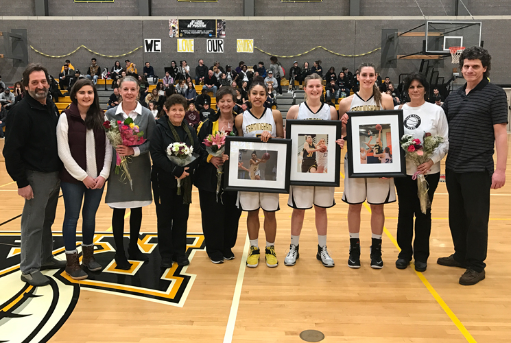 2016-17 Women's Basketball Seniors with their families