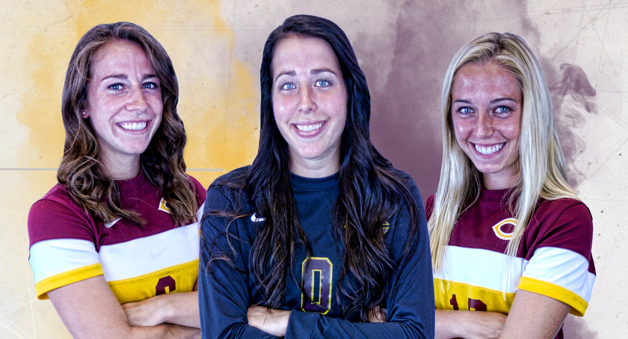 The three Concordia seniors (L-R) Rachel Osmundson, Jordan Martins and Kayla Dostal were honored before the Cobbers' game with Augsburg.