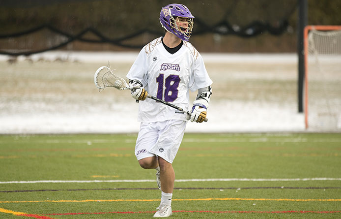 Men's lacrosse falls to No. 15 Southern New Hampshire, 14-9, Loughlin reaches 100