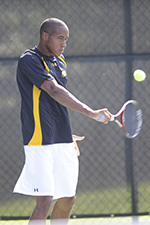 Daniel Gray wDaniel Gray won in both doubles and singles for UMBC.