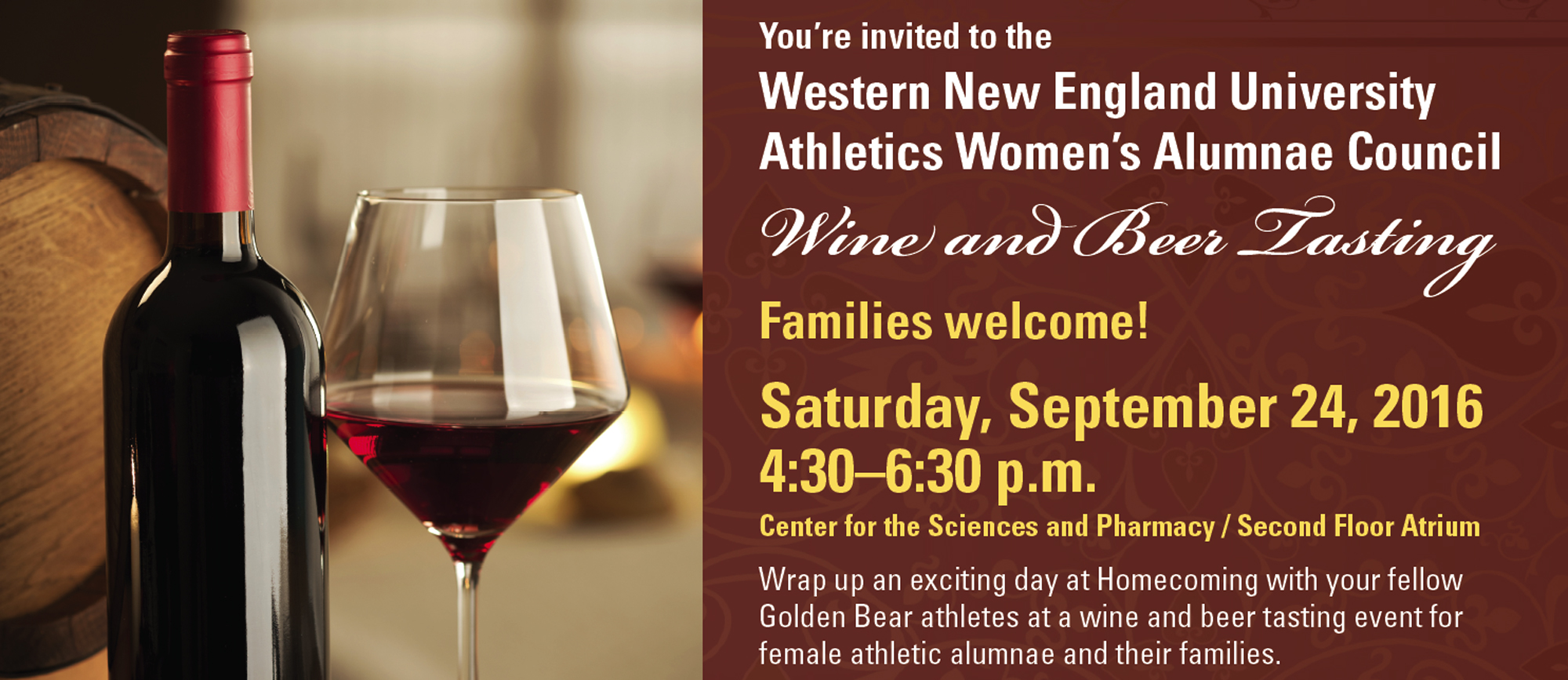 Western New England Athletics Women's Alumnae Council to Host Wine & Beer Tasting on Saturday, September 24