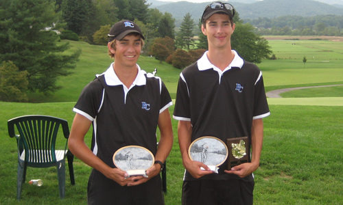 McGaughey and Davis with their awards from the tournament.