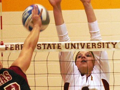 Senior middle hitter Sarah Lark is a repeat selection on the Ferris State Invite All-Tournament Team.