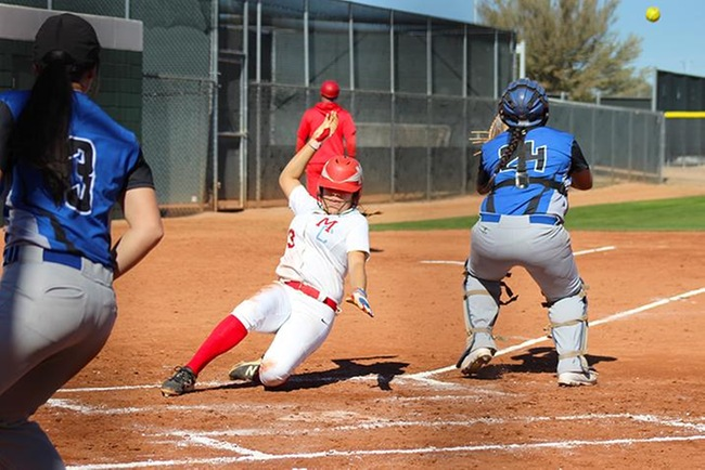 Marissa Ibarra scores during Mesa's first game against Gateway Saturday afternoon. (photo by Aaron Webster)