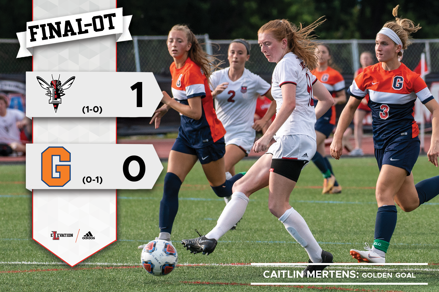 Catilin Mertens kicks the ball. Graphic showing final score and Lynchburg and Gettysburg logos.