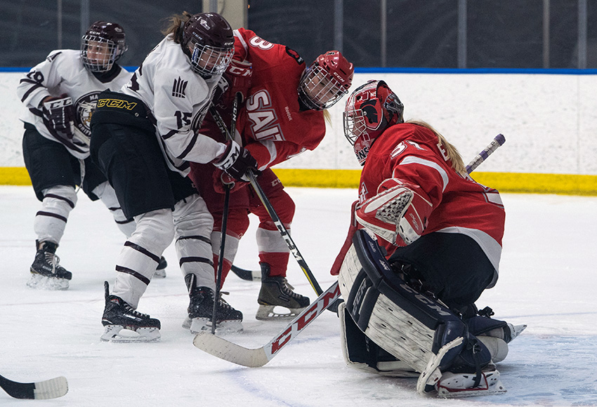 Karlie Bell and the rest of the Griffins were stymied by SAIT goaltender Elisha Oswald, who made 43 saves on Friday night. But, MacEwan managed to score once on her to score a 1-0 win (Matthew Jacula photo).