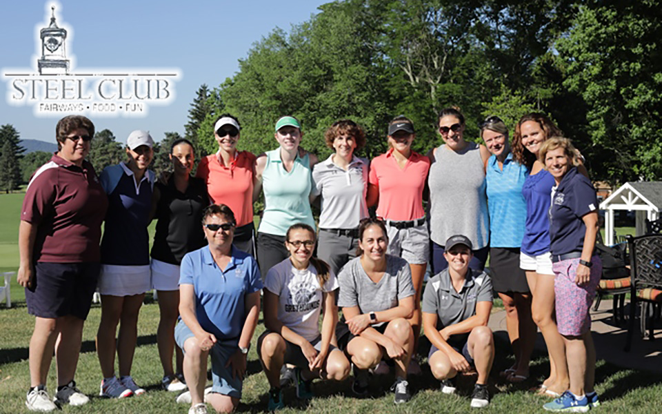 2018 golf outing alumni before tee off at the Steel Club.