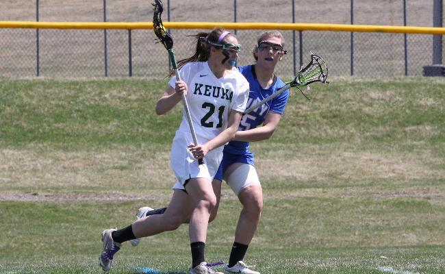 Senior Olivia Hudson scored four goals with an assist, and also won six draw controls in Sunday's 20-15 win vs. Medaille College (photo courtesy of Ed Webber).