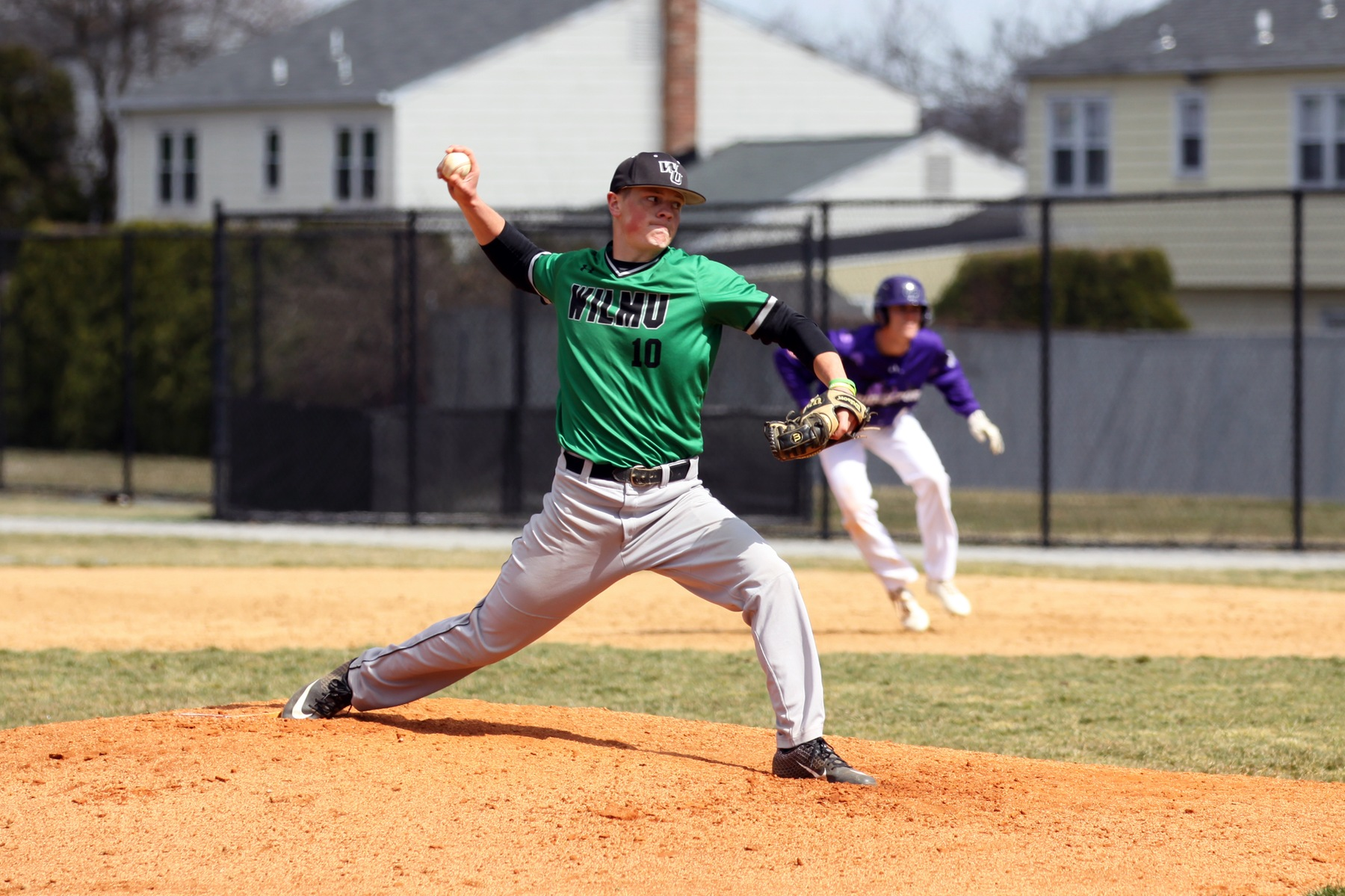 Copyright 2019; Wilmington University. All rights reserved. Photo of Dan Hyatt as he improved to 3-1 with the win. Photo by Dan Lauletta. March 17, 2019 vs. Bridgeport.