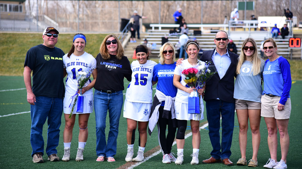 Women's Lacrosse Continues Win Streak in Conference Play with 23-5 Win Against Madonna on Senior Day