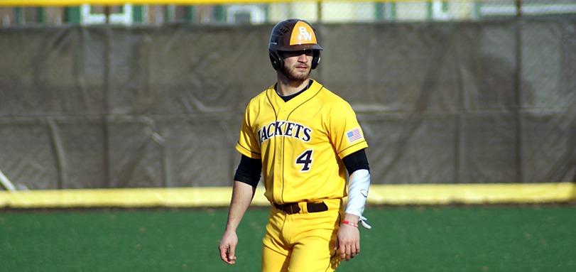 Sophomore outfielder Dudley Taw hit his fifth home run of the season in the bottom half of the ninth inning in the first game against Mount Union (Photo courtesy of Alec Palmer)