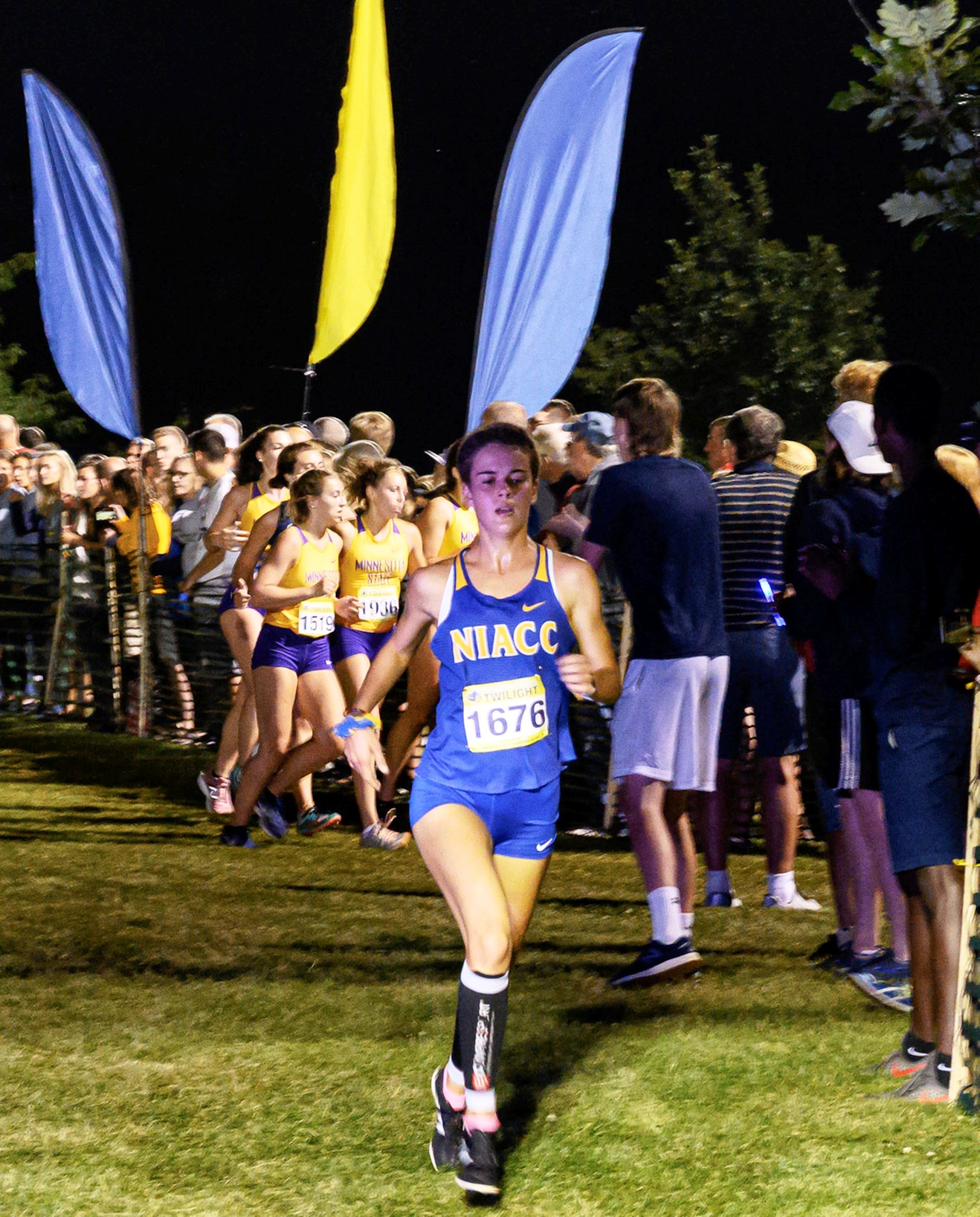 NIACC's Paula Jimenez runs at the Augustana Twilight on Friday.