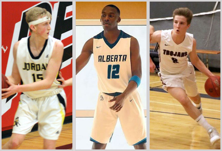 Griffins men's basketball recruits Dawson Smadis, left, Abiel Tabufor and Griffin Lorenz will join MacEwan for the 2018-19 Canada West season.