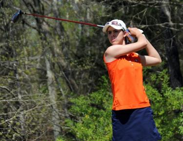 Hawkins tees off at the SAC Championships in April at the Sevierville Golf Club