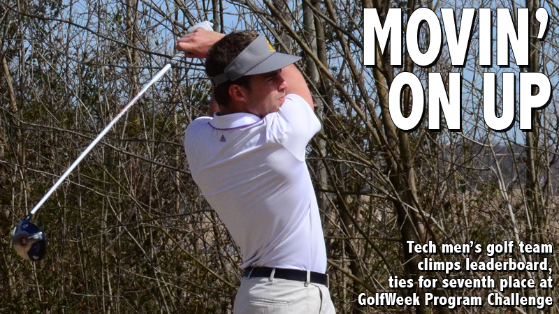 Tech men's golf team climbs leaderboard, ties for seventh at GolfWeek Program Challenge