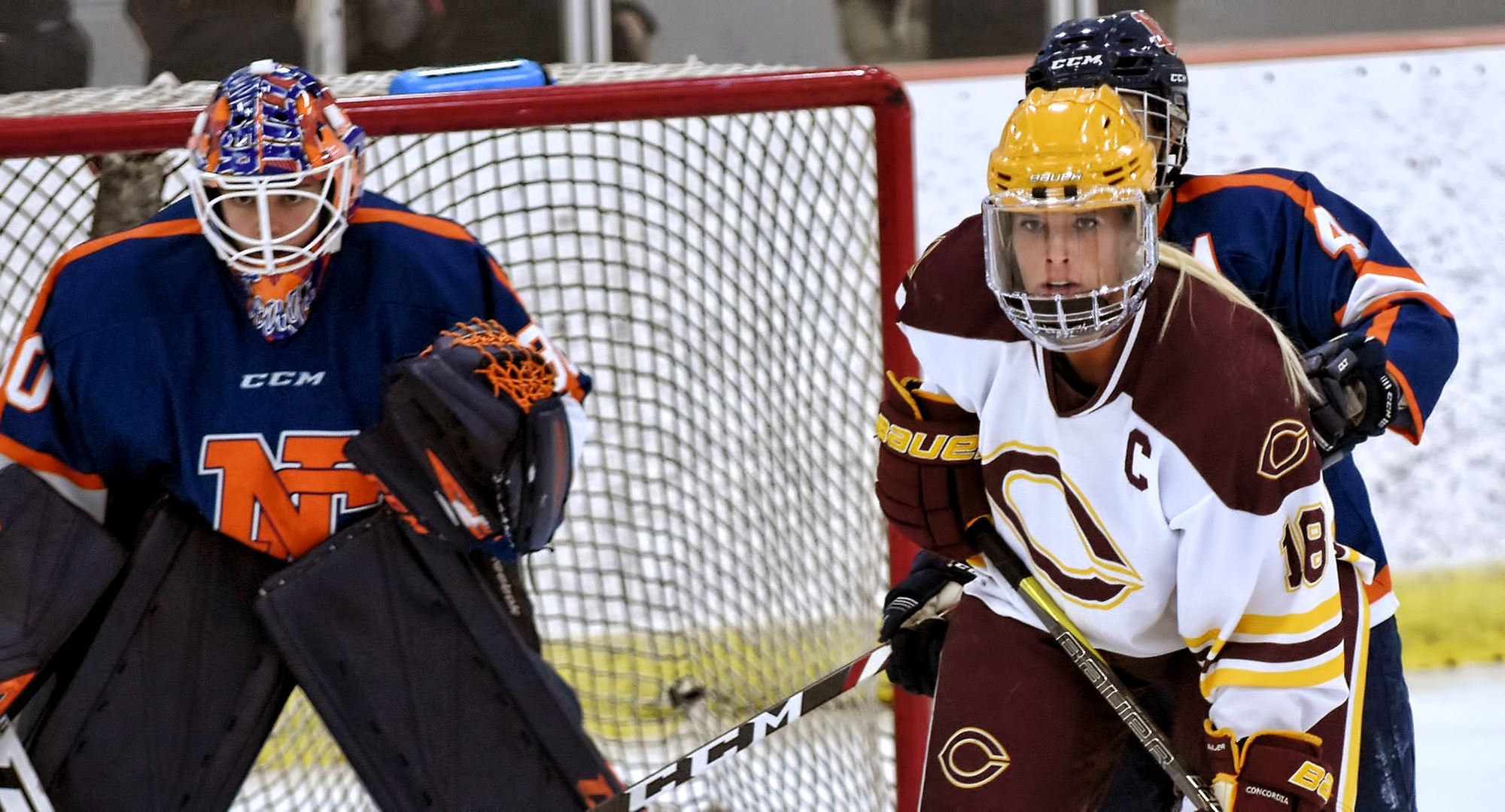 Senior captain Ally Wiitala camps in front of the Northland goal during the first period of the Cobbers' OT win. Wiitala scored the game winner.