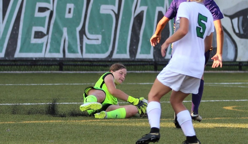 Copyright 2018; Wilmington University. All rights reserved. Photo of Kate Tubo who made 12 saves against West Chester. Taken by Keara McCarthy. September 5, 2018 vs. #8 West Chester.