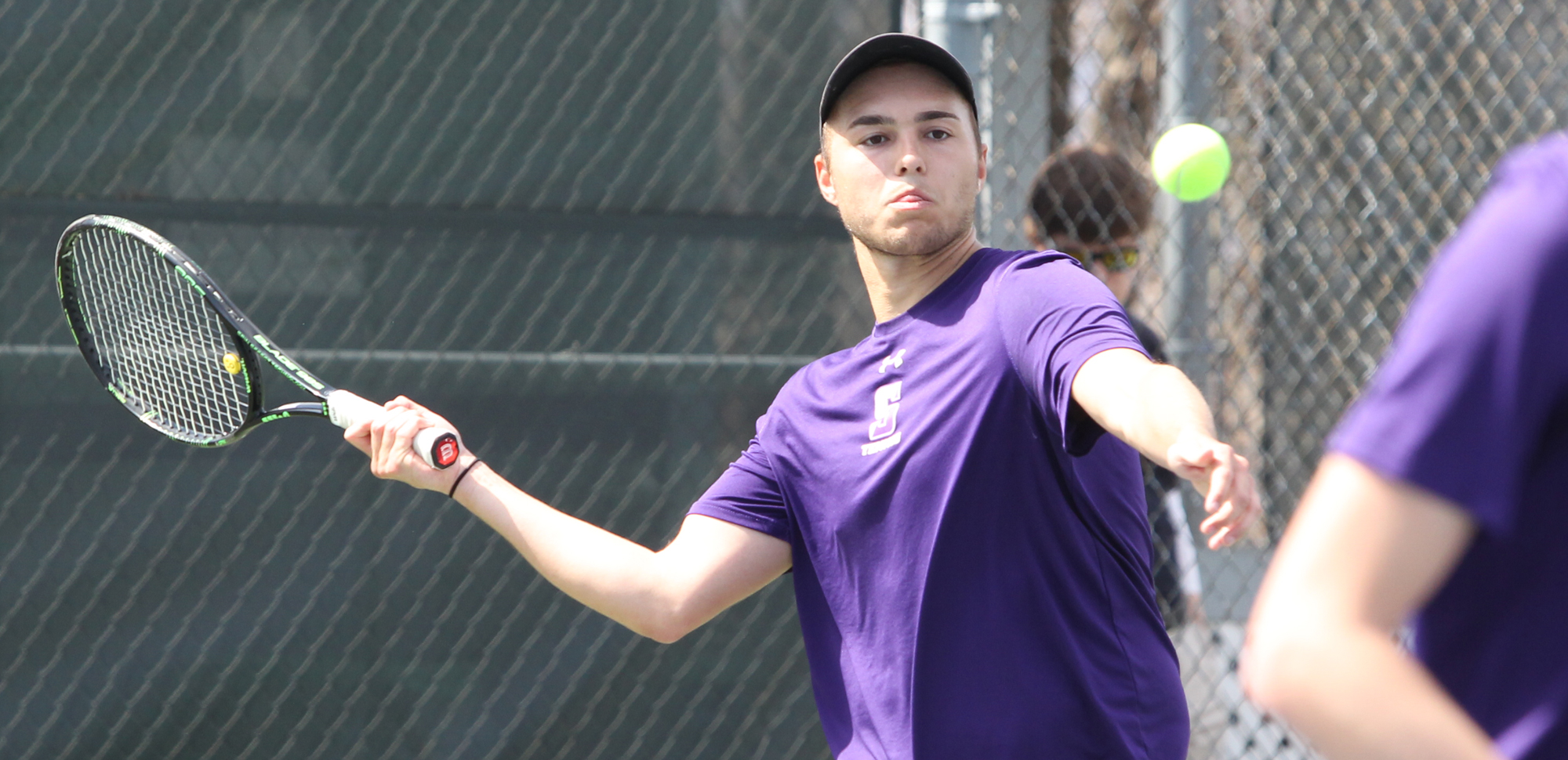Graduate student Christian Aksu won at doubles in his final match at Scranton on Saturday vs. Goucher, as the Gophers won the Landmark title with a 5-1 win over the Royals. © Photo by Timothy R. Dougherty / doubleeaglephotography.com
