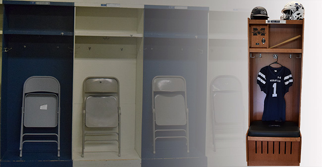 The old lockers in the baseball/football locker room to a prototype of the new lockers being installed in 2018.