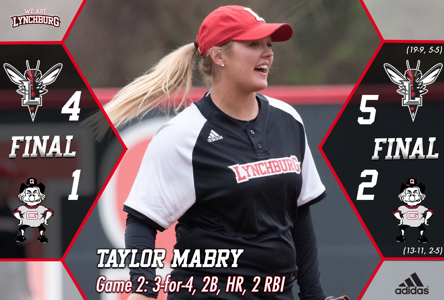 Taylor Mabry smiles, celebrating success on the field.