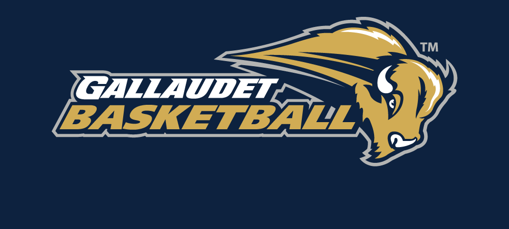 Gallaudet Basketball logo on a navy colored background