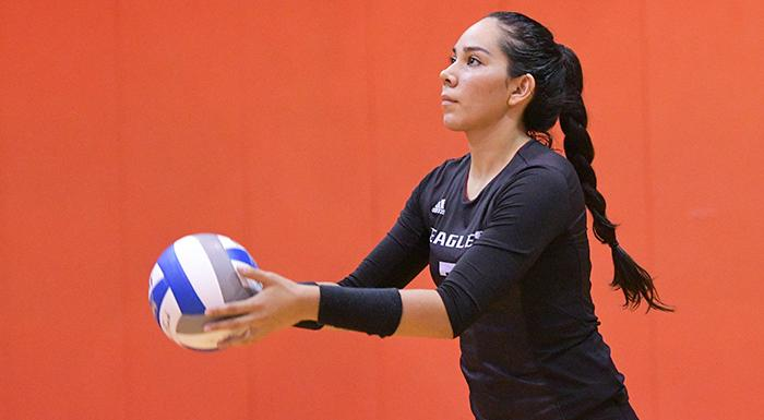 Kathya Garcia made 21 kills as the Eagles defeated Lake-Sumter. (Photo by Tom Hagerty, Polk State.)