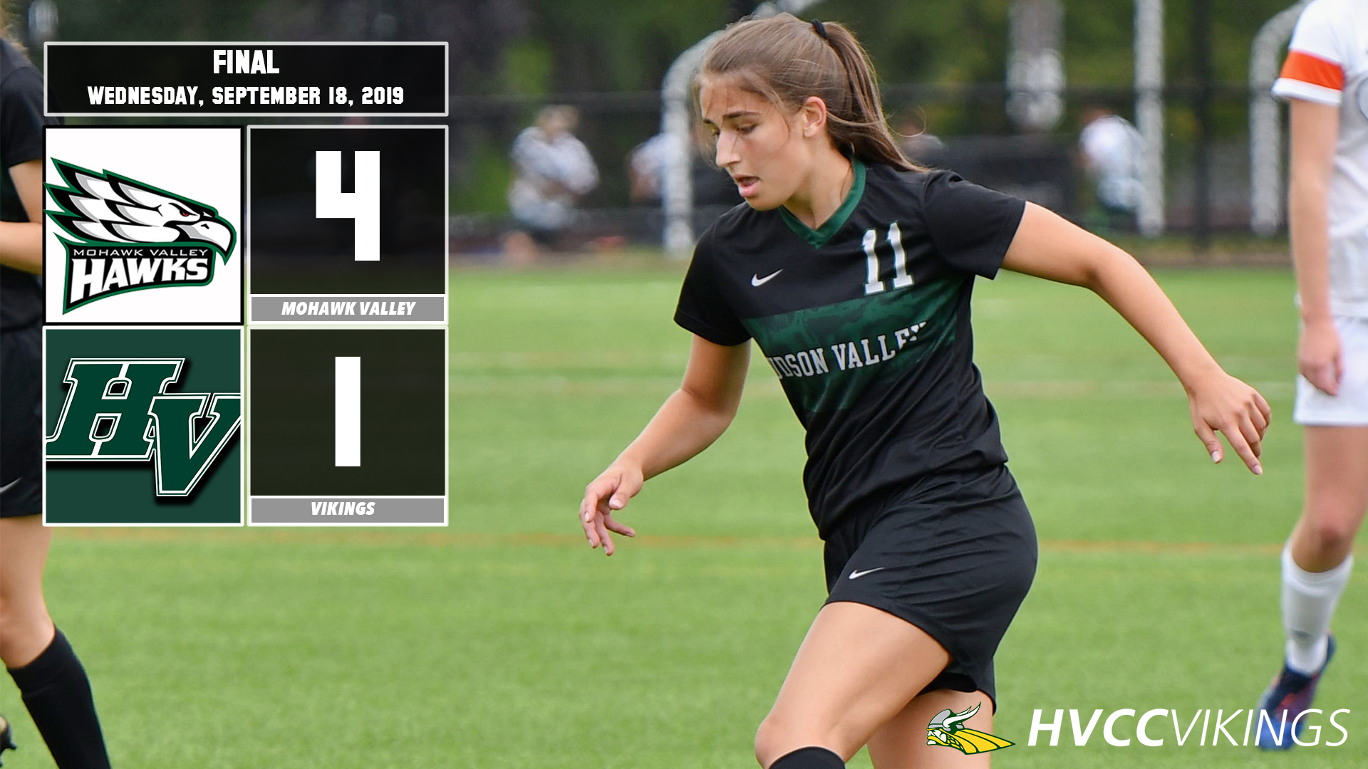 Women's soccer defeated 4-1 at Mohawk Valley on 9/18/2019