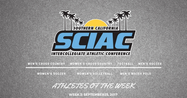 SCIAC Athletes of the Week: September 25, 2017