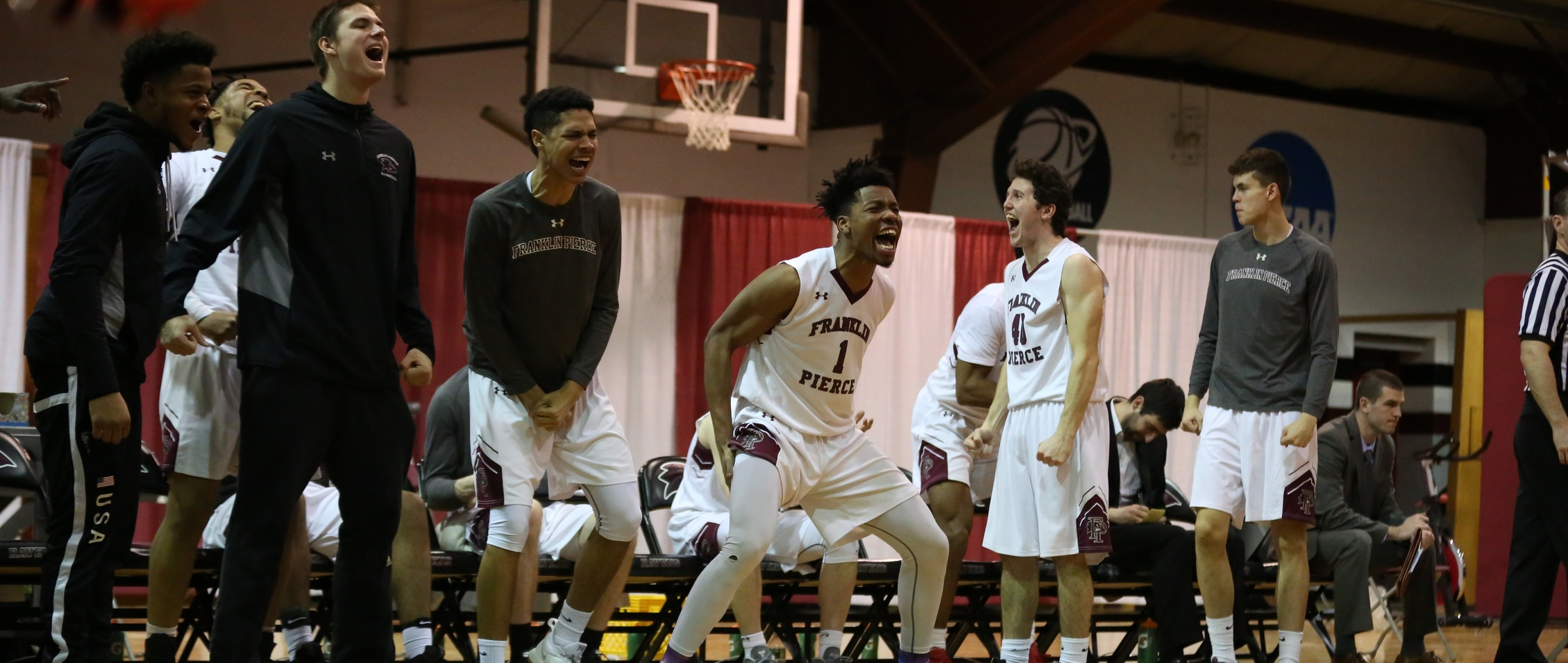 The Raven bench celebrates during their win against American International (Photo Courtesy of Luke Tracy)