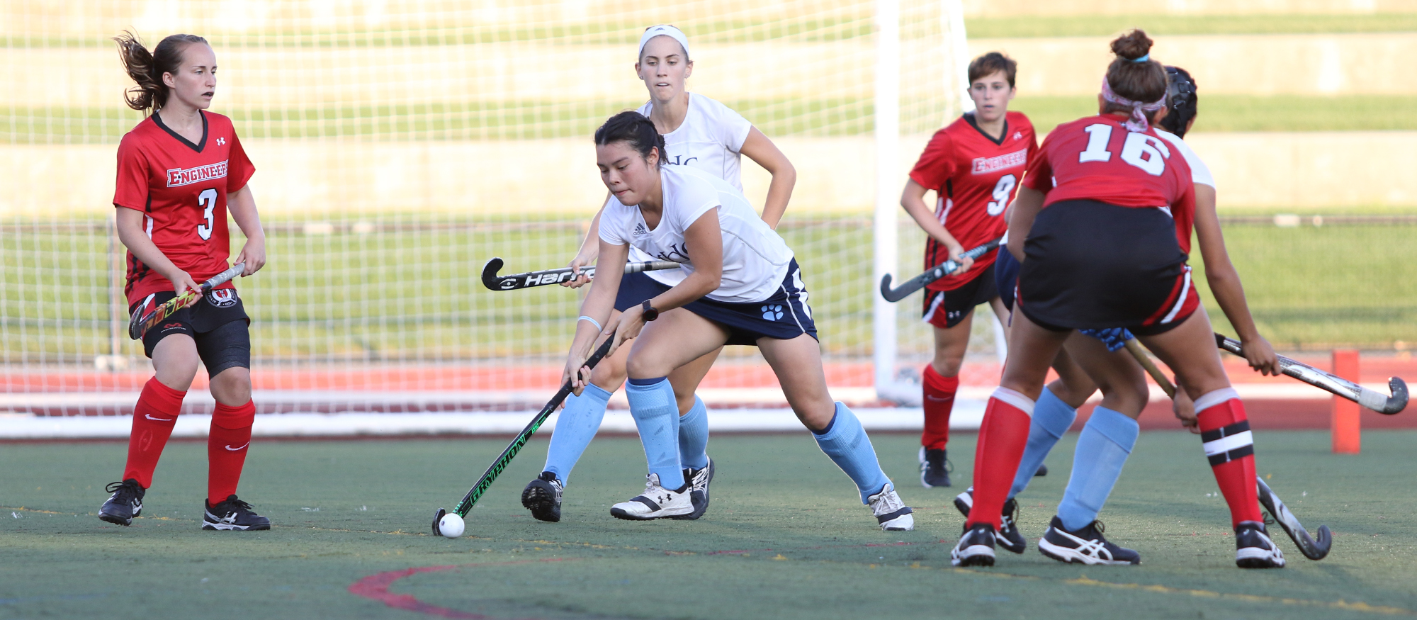 Senior field hockey player Liz Delorme dribbles the ball during a 3-2 win at RPI on Sept. 2, 2018. Photo credit to Perry Laskaris (RPI Athletics)