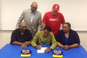 Pictured: Seated (left to right) Father Dwight Rabb, Desean Rabb and Mother Sandra Rabb; Standing (left to right) Desean's Uncle Larry Hinton and CCBC Catonsville head coach Dan Blue.